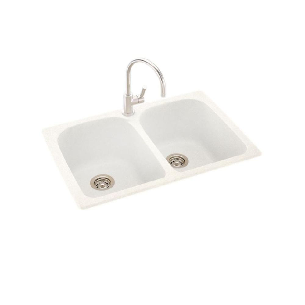 Dual Mount Solid Surface 33 In X 22 1 Hole 50 Double Bowl Kitchen Sink Tahiti Ivory