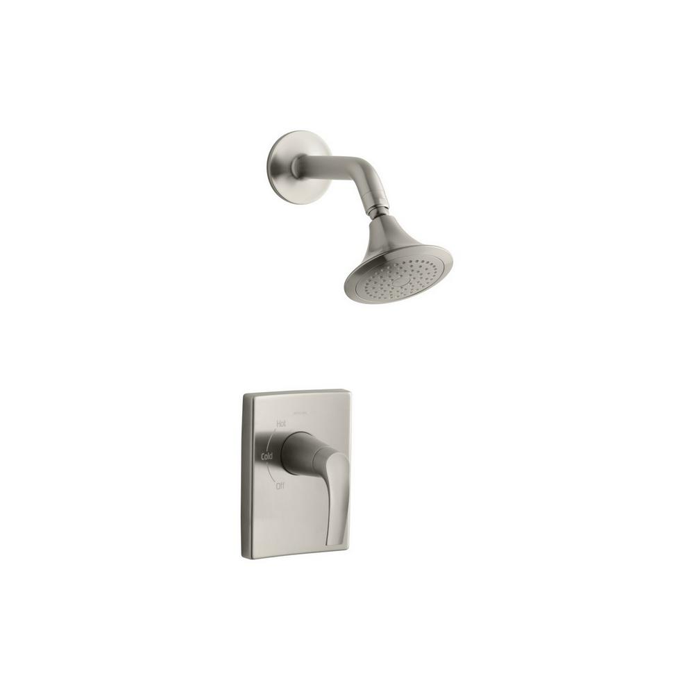 Symbol 1-Spray 6.3 in. Single Wall Mount Fixed Shower Head in Vibrant Brushed Nickel