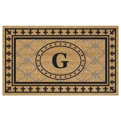 Bungalow 18 in. x 30 in. SuperScraper Vinyl/Coir Monogrammed G Door Mat