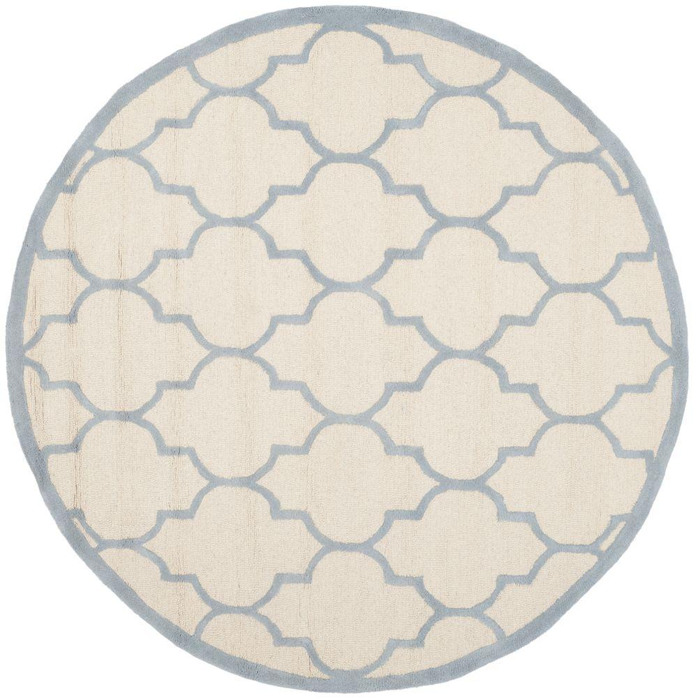 Cambridge Ivory/Light Blue 6 ft. x 6 ft. Round Area Rug