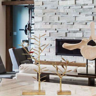 Gold Metal Tree Tabletop Decor and Jewellery Holder (Set of 2)