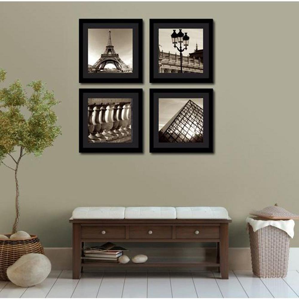 """Four 10 in. x 10 in. """"Vintage Paris"""" by Neeva Kedem Framed Printed Wall Art"""