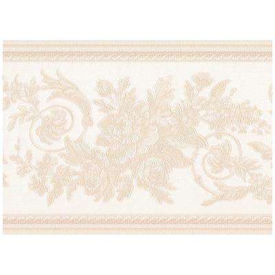 Beige Abstract Damask ScPrepasted Rolls Leaves on Alabaster White Prepasted Wallpaper Border