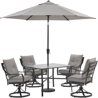 Lavallette 5-Piece Steel Outdoor Dining Set with Silver Linings Cushions, Swivel Rockers, Table, Umbrella and Base