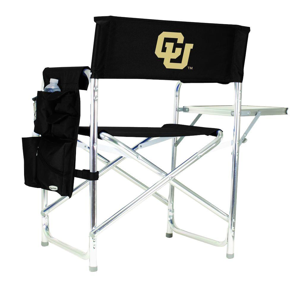 Picnic Time University of Colorado Black Sports Chair with Embroidered Logo