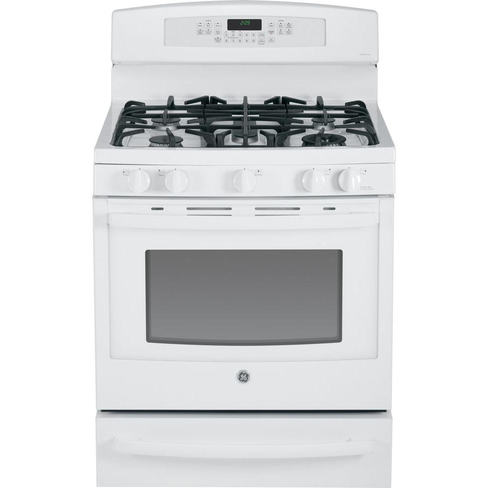 GE Profile 5.6 cu. ft. Dual Fuel Range with Self-Cleaning Convection Oven in White