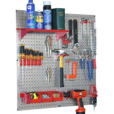 32 in. x 32 in. Shiny Metallic Galvanized Steel Pegboard Utility Tool Storage Kit with Red Accessories