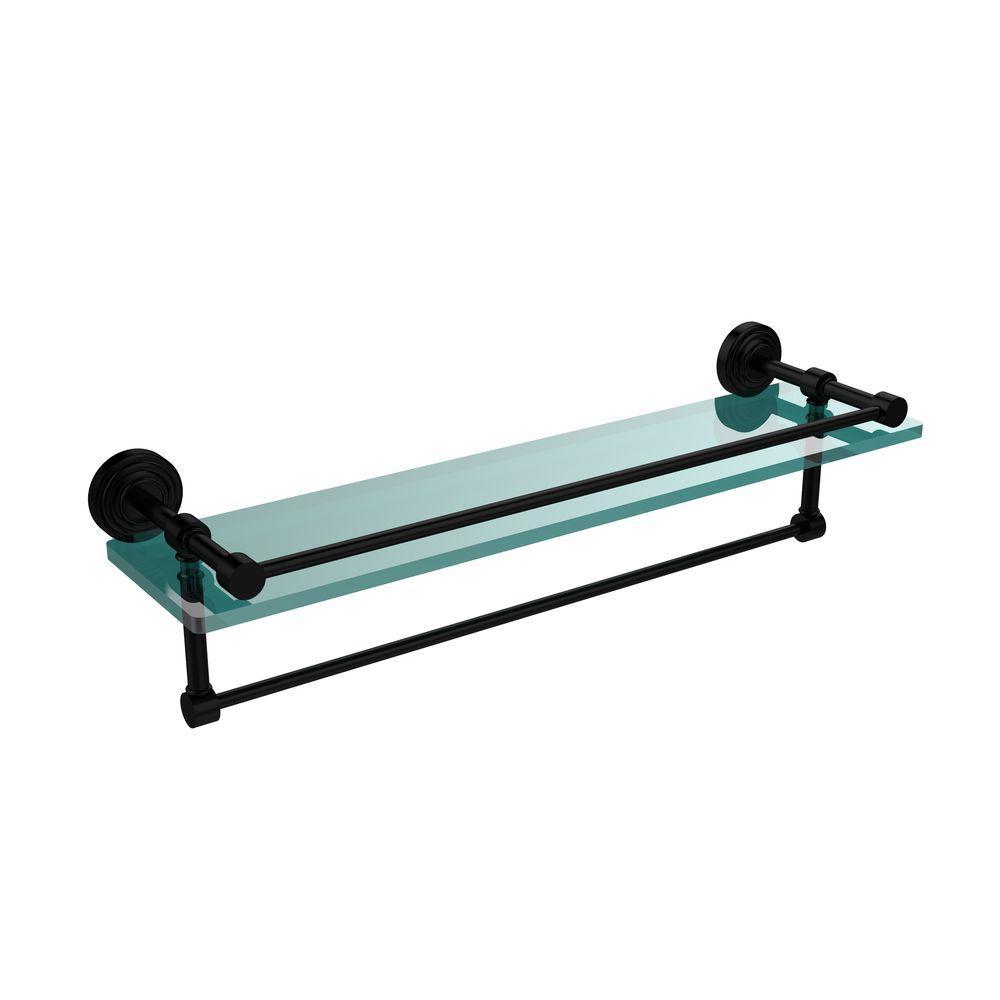 22 in. L  x 5 in. H  x 5 in. W Clear Glass Bathroom Shelf with Towel Bar in Matte Black