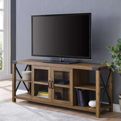 60 in. Reclaimed Barnwood Farmhouse Metal X TV Stand