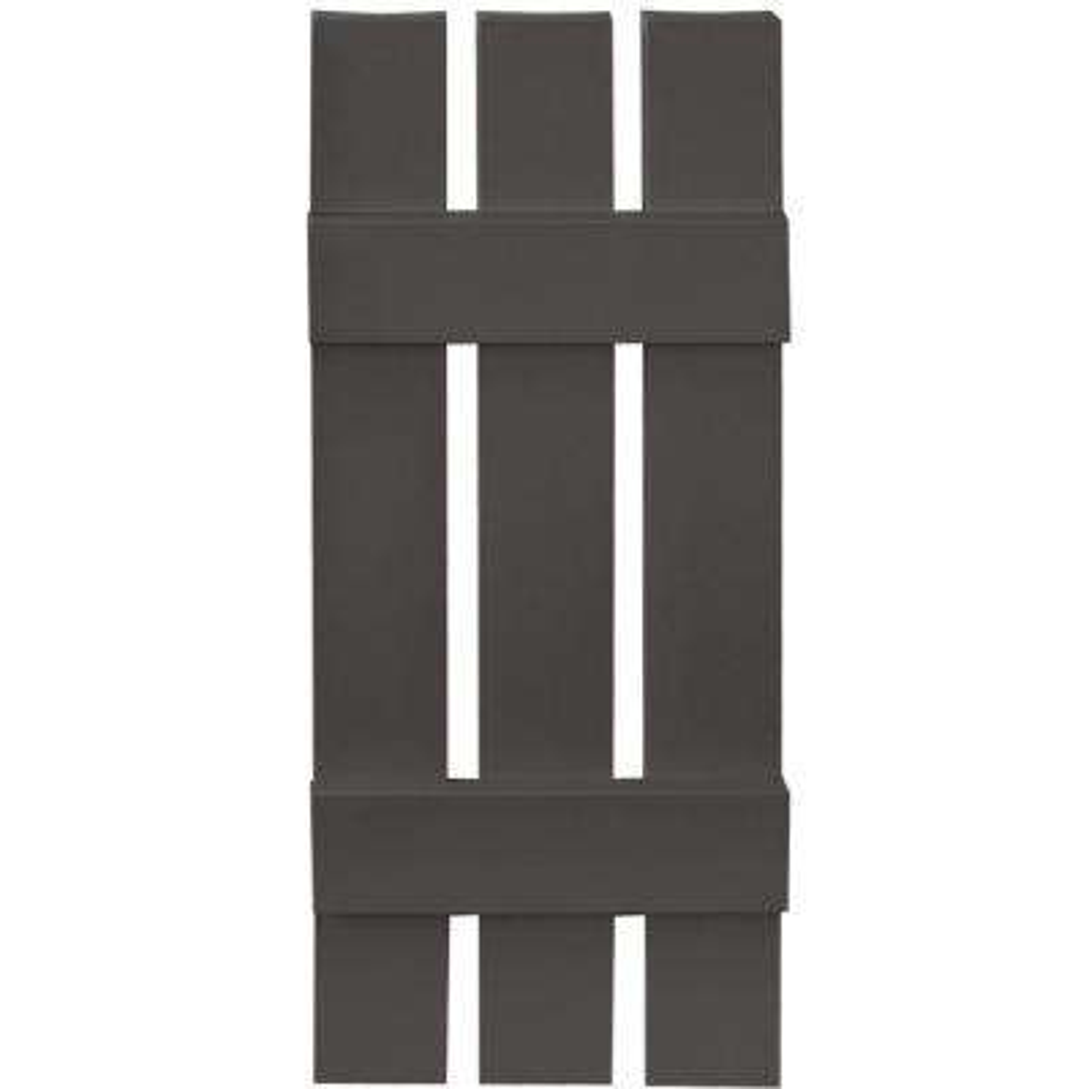 12 in. x 31 in. Board-N-Batten Shutters Pair, 3 Boards Spaced #018 Tuxedo Grey