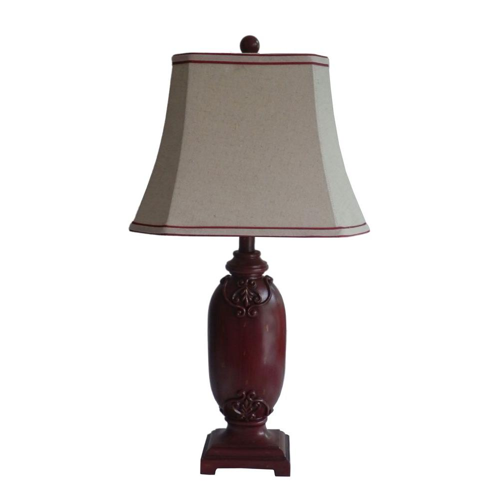 Fangio Lighting 28 in. Red Resin Table Lamp-DISCONTINUED