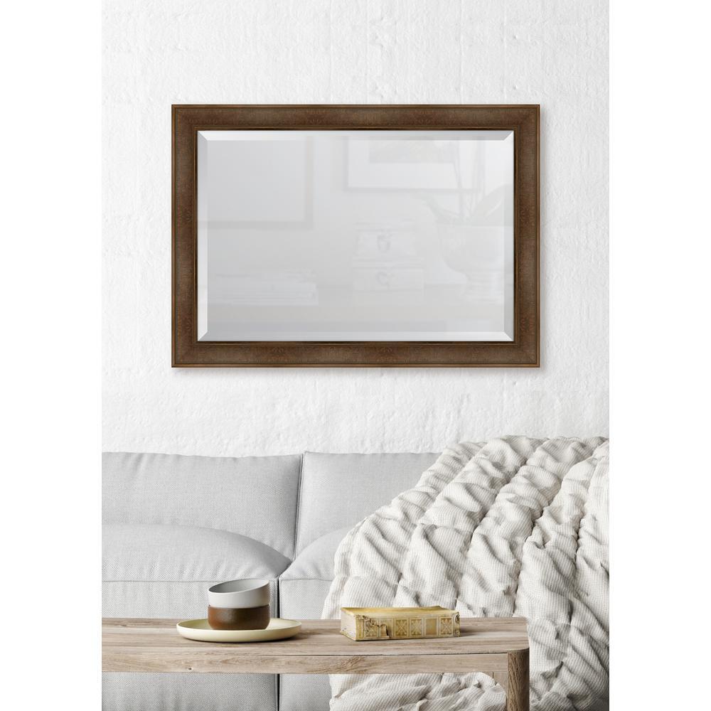 30 in. x 42 in. Framed Warm Walnut Mirror