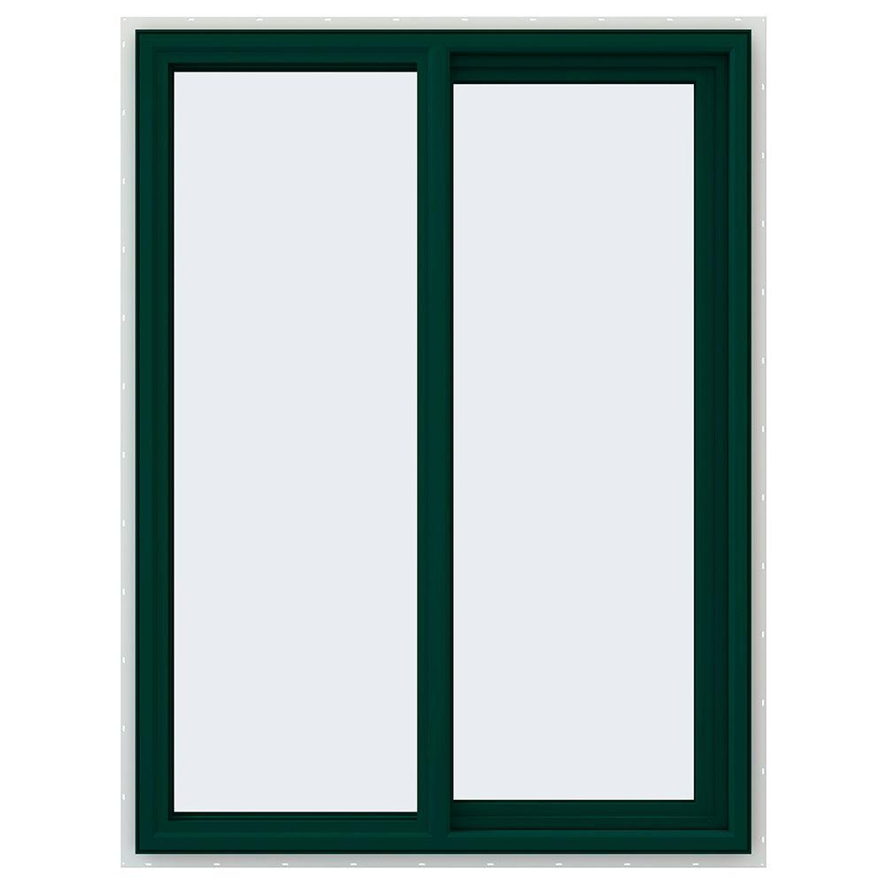 JELD-WEN 35.5 in. x 47.5 in. V-4500 Series Green Painted Vinyl Right-Handed Sliding Window with Fiberglass Mesh Screen