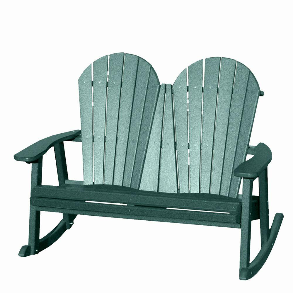 Vifah Roch Recycled Plastic Adirondack Patio Rocker Bench in Green-DISCONTINUED