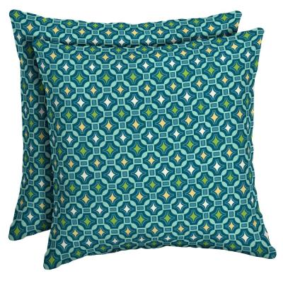 16 x 16 Alana Tile Square Outdoor Throw Pillow (2-Pack)