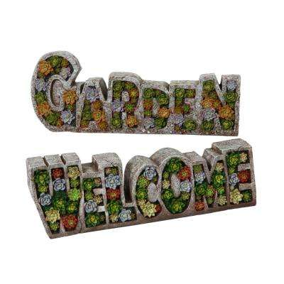 19.7 in. L Polyresin Sculpture Signs (2-Set)