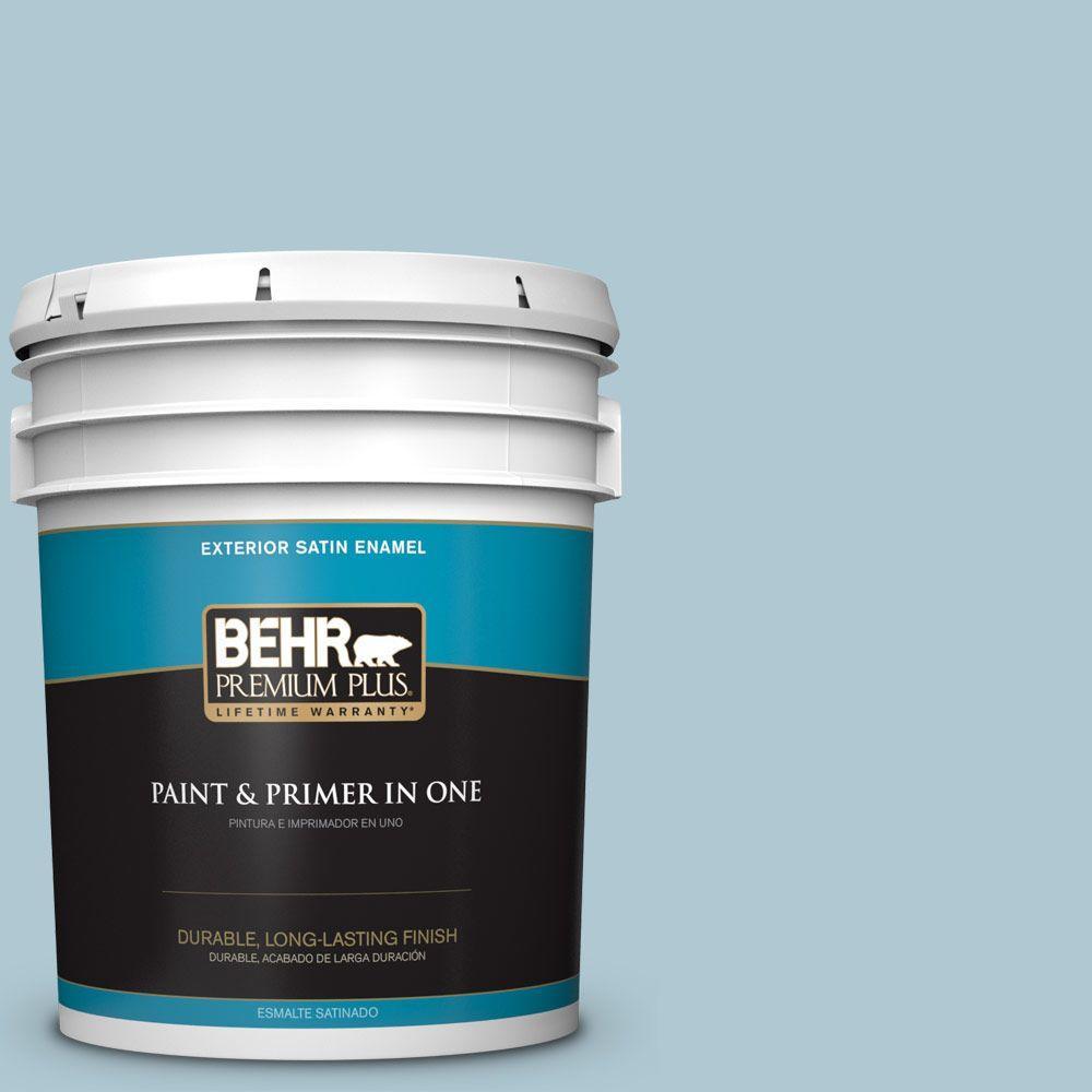 BEHR Premium Plus 5-gal. #S470-2 Gentle Sea Satin Enamel Exterior Paint