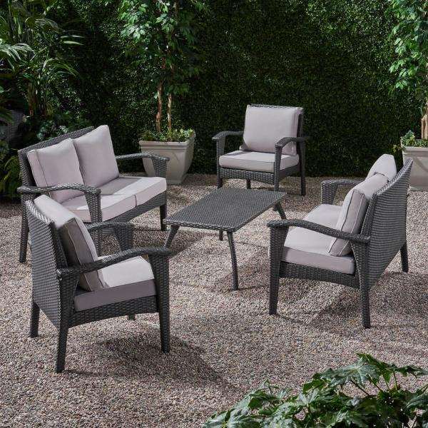 Honolulu Grey 5-Piece Metal Patio Conversation Seating Set with Light Grey Cushions