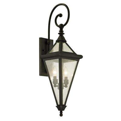 Geneva 2-Light Vintage Bronze 31 in. H Outdoor Wall Mount Sconce with Clear Seeded Glass