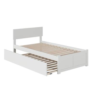 Orlando Twin Extra Long Bed with Footboard and Twin Extra Long Trundle in White