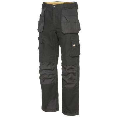 Men's 32 in. W x 32 in. L Black Cotton/Polyester Canvas Heavy Duty Cargo Work Pant
