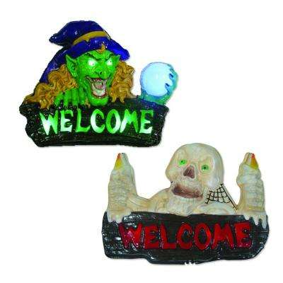 14 in. LED Battery Operated Motion Activated Witch and Skull Wall Signs (Set of 2)