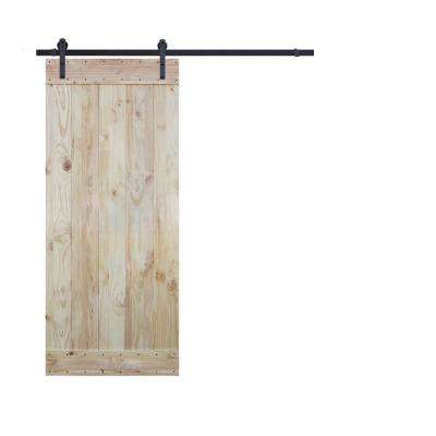 36 in. x 84 in. Unfinished Wood Plank Natural Knotty Pine Slab Interior Barn Door with 6 ft. Sliding Door Hardware Kit