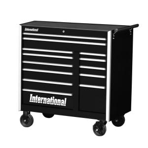 International Pro Series 42 inch 13-Drawer Roller Cabinet Tool Chest in Black by International