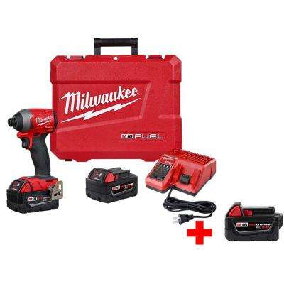 M18 Fuel 18-Volt Lithium-Ion Brushless Cordless 1/4 in. Hex Impact Driver Kit with Free 5.0 Ah Battery