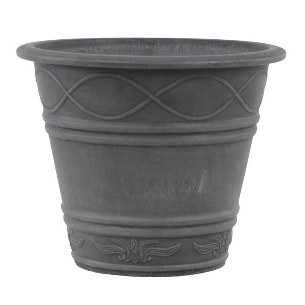 Arcadia Garden Products Western Weave 14 in. x 11-1/2 in. Dark Charcoal PSW Pot