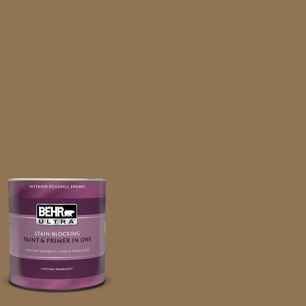 Behr Ultra 1 Qt 290f 6 Warm Earth Eggshell Enamel Interior Paint And Primer In One 275304 The Home Depot