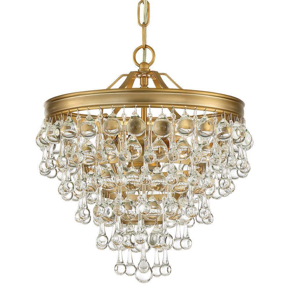 Crystorama Calypso 3-Light Vibrant Gold Mini Chandelier