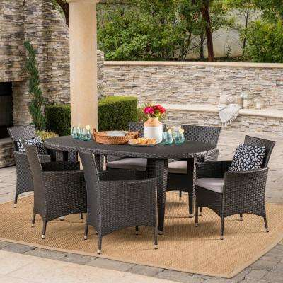 Jax Grey 7-Piece Wicker Oval Outdoor Dining Set with Silver Cushions