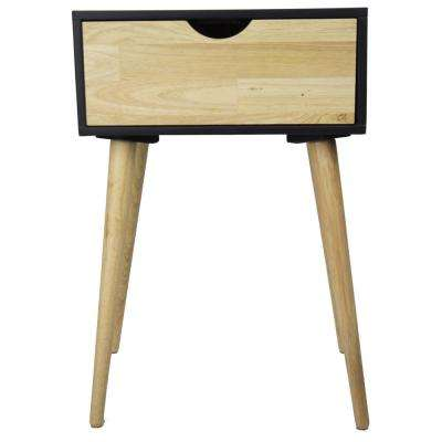 Shelly 24 in. Black Wood End Table