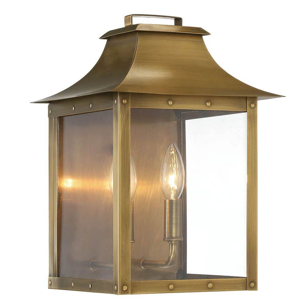 Acclaim Lighting Manchester Collection 2-Light Aged Brass Outdoor Wall Lantern  sc 1 st  The Home Depot & Acclaim Lighting Manchester Collection 2-Light Aged Brass Outdoor ... azcodes.com
