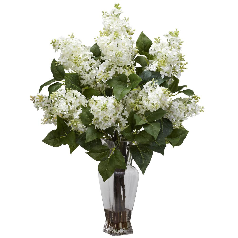 Lilac Silk Flower Arrangement In White