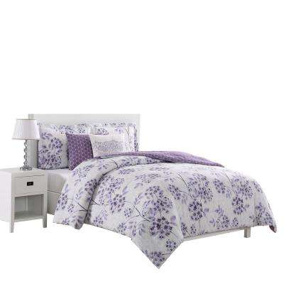 Bistro 5-Piece Reversible Purple King Comforter Set