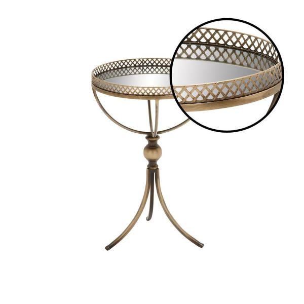 Litton Lane Gold Brass Round Accent Tray Table 65369 The Home Depot