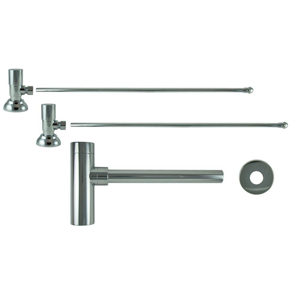 3/8 in. x 20 in. Brass Lavatory Supply Lines with Round Handle Shutoff Valves and Decorative Trap in Polished Chrome Barclay provides all your essential bathroom needs. Replace unsightly plumbing under your exposed sink with this decorative lavatory trap and supplies. Enjoy the convenience of accessible water shut-off.