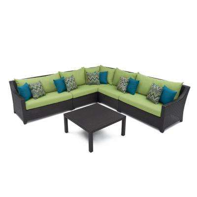 Deco 6-Piece Wicker Patio Sectional Seating Set with Ginkgo Green Cushions