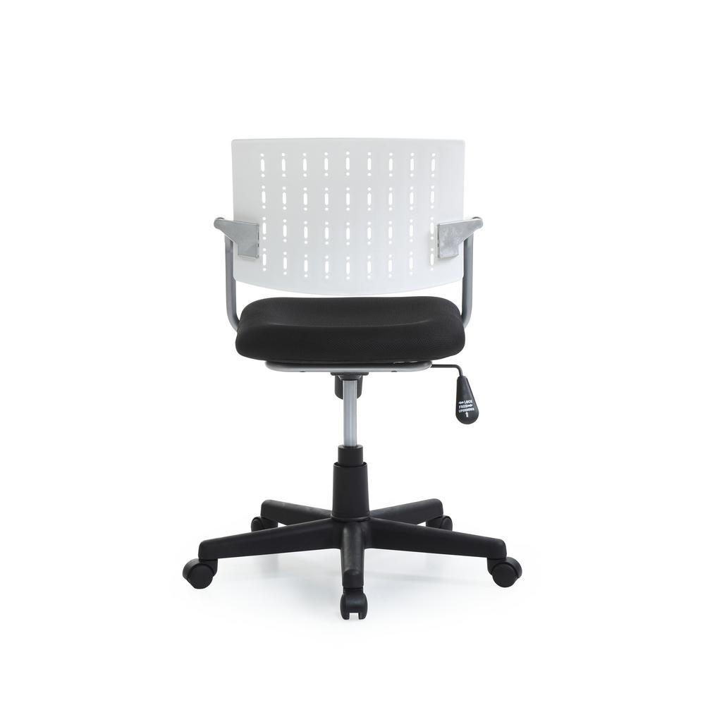 White Mid Back Adjule Height Swiveling Desk Chair With Padded Seat And Breathable Res