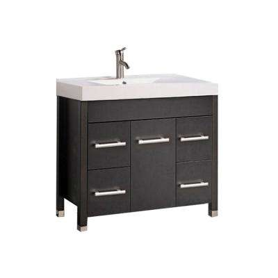Gard 36 in. W x 18 in. D x 35 in. H Bath Vanity in Espresso with Acrylic Vanity Top in White with White Basin