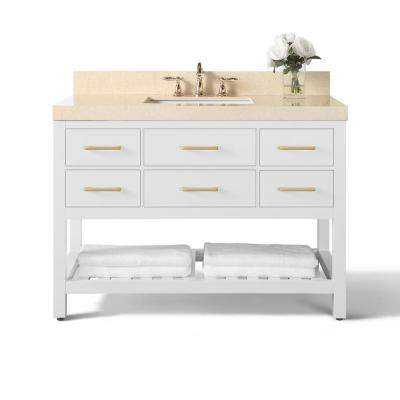Elizabeth 48 in. W x 22 in. D Vanity with Marble Vanity Top in Galala Beige with White Basin and Gold Finish Hardware