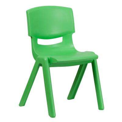 Green Plastic Stackable School Chair with 15.5 in. Seat Height