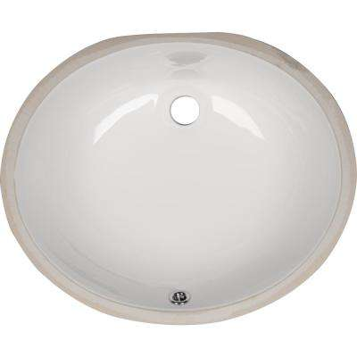 Undermount Porcelain Ceramic Bathroom Sink in White Oval