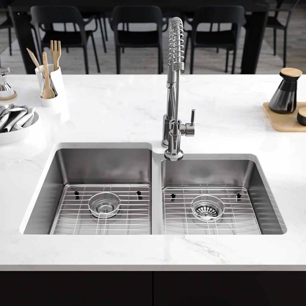 Rene Undermount Stainless Steel 31-1/4 in. Left Double Bowl Kitchen Sink
