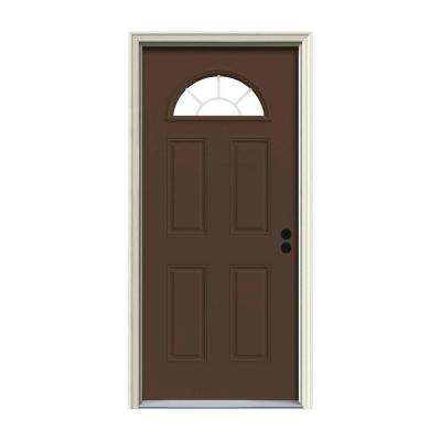 32 in. x 80 in. Fan Lite Dark Chocolate Painted Steel Prehung Left-Hand Inswing Front Door w/Brickmould