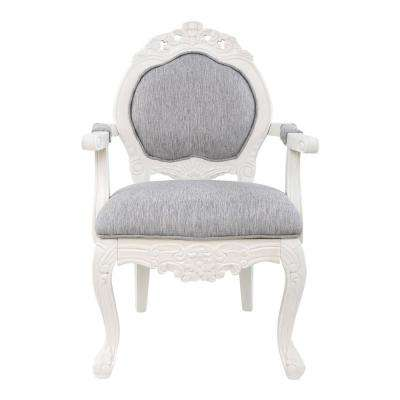Gray Hand-Carved Wood and Linen Upholstery Arm Chair