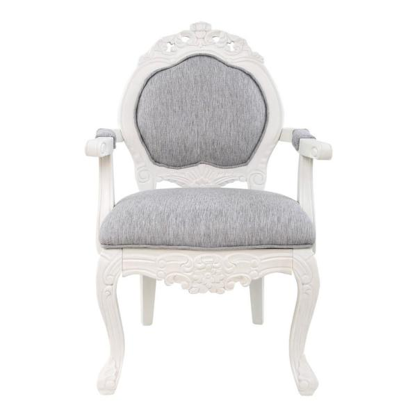 River of Goods Gray Hand-Carved Wood and Linen Upholstery Arm Chair