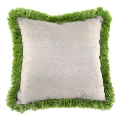 Sunbrella Frequency Parchment Square Outdoor Throw Pillow with Gingko Fringe